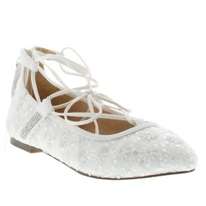 Badgley Mischka NEW Teera Ghille White Lace Shoes